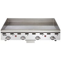 Vulcan MSA48-24C 48 inch Natural Gas Chrome Top Commercial Griddle / Grill with Snap-Action Thermostatic Controls - 108,000 BTU