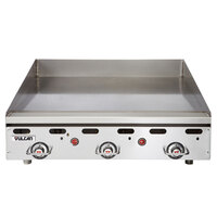 Vulcan MSA36-30C 36 inch Natural Gas Chrome Top Commercial Griddle / Grill with Snap-Action Thermostatic Controls and Extra Deep Plate - 81,000 BTU