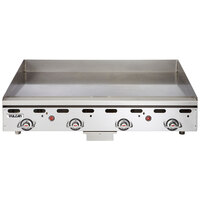 Vulcan MSA48-24C 48 inch Liquid Propane Chrome Top Commercial Griddle / Grill with Snap-Action Thermostatic Controls - 108,000 BTU