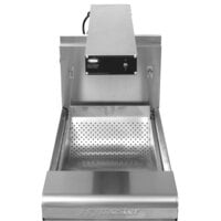 Frymaster 15MC + FWH-1A 15 1/2 inch Stainless Steel Spreader Cabinet for D50G and SM50G Fryers with Food Warmer / Holding Station and Curved Scoop Pan - 120V