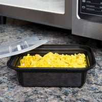 Pactiv Newspring NC-818-B 12 oz. Black 4 1/2 inch x 5 1/2 inch x 1 3/4 inch VERSAtainer Rectangular Microwavable Container with Lid - 150/Case