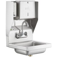 Regency 17 inch x 15 inch Wall Mounted Hand Sink with Gooseneck Faucet and Top Mounted Paper Towel and Soap Dispenser