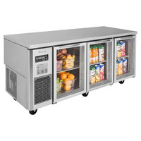 Turbo Air JUR-72-G-N J Series 72 inch Glass Door Undercounter Refrigerator with Side Mounted Compressor
