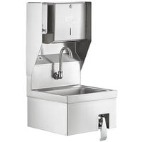 Regency 17 inch x 15 inch Hands Free Hand Sink with Knee Operated Valve and Top Mounted Paper Towel and Soap Dispenser