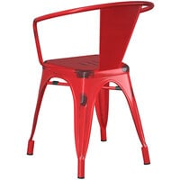 Lancaster Table & Seating Alloy Series Distressed Red Metal Indoor / Outdoor Industrial Cafe Arm Chair