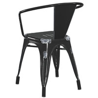 Lancaster Table & Seating Alloy Series Distressed Black Metal Indoor / Outdoor Industrial Cafe Arm Chair