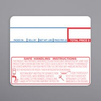 Cas 1479-S/H 58 mm x 50 mm White Safe Handling Pre-Printed Equivalent Scale Label Roll - 12/Case