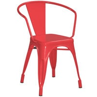 Lancaster Table & Seating Alloy Series Red Metal Indoor / Outdoor Industrial Cafe Arm Chair