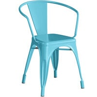 Lancaster Table & Seating Alloy Series Arctic Blue Metal Indoor / Outdoor Industrial Cafe Arm Chair