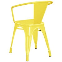 Lancaster Table & Seating Alloy Series Yellow Metal Indoor / Outdoor Industrial Cafe Arm Chair