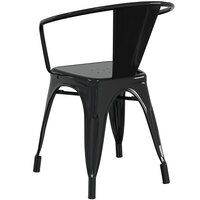 Lancaster Table & Seating Alloy Series Black Metal Indoor / Outdoor Industrial Cafe Arm Chair