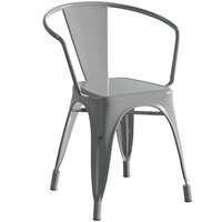 Lancaster Table & Seating Alloy Series Silver Metal Indoor / Outdoor Industrial Cafe Arm Chair