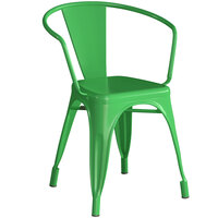 Lancaster Table & Seating Alloy Series Green Metal Indoor / Outdoor Industrial Cafe Arm Chair