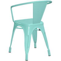 Lancaster Table & Seating Alloy Series Seafoam Metal Indoor / Outdoor Industrial Cafe Arm Chair