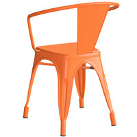 Lancaster Table & Seating Alloy Series Orange Metal Indoor / Outdoor Industrial Cafe Arm Chair