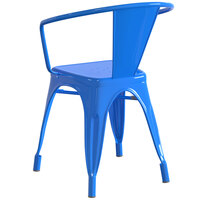 Lancaster Table & Seating Alloy Series Blue Metal Indoor / Outdoor Industrial Cafe Arm Chair