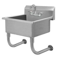 Advance Tabco FC-WM-2219-F 16-Gauge Multi-Station Wall Mounted Hand Sink with 10 inch Deep Sink Bowl with 1 Faucet - 23 inch x 23 inch