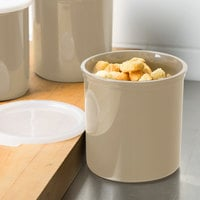Cambro CP12133 1.2 Qt. Beige Round Crock with Lid