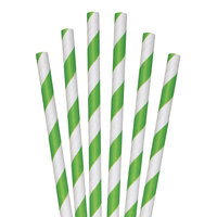 Aardvark 61620036 7 3/4 inch Giant Green / White Striped Unwrapped Paper Straw - 2800/Case
