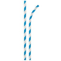 Aardvark 61720015 7 3/4 inch Jumbo Blue / White Striped Unwrapped Eco-Flex Paper Straw - 4800/Case