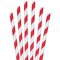 Aardvark 61620005 7 3/4 inch Giant Red / White Striped Unwrapped Paper Straw - 2800/Case