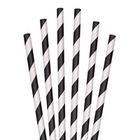 Aardvark 61521009 10 inch Jumbo Black / White Striped Unwrapped Paper Straw - 4800/Case