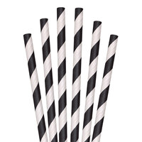Aardvark 61621009 10 inch Giant Black / White Striped Unwrapped Paper Straw - 2800/Case