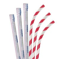 Aardvark 61810005 7 3/4 inch Jumbo Red / White Striped Wrapped Eco-Flex Paper Straw - 3200/Case