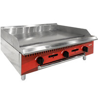 "Avantco Chef Series CAG36MG 36"" Countertop Gas Griddle with Manual Controls - 90,000 BTU"