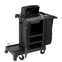 Suncast CCH225 Black High Security Janitor / Housekeeping Cart with Bag, Lockable Hood, and Non-Marring Wall Bumpers