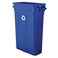 Suncast TCNH2030BLR 23 Gallon Blue Slim Rectangular Recycling Can with Handles