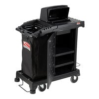 Suncast CCH200 Black Sub-Compact Janitor / Housekeeping Cart with Bag, Lockable Hood, and Non-Marring Wall Bumpers