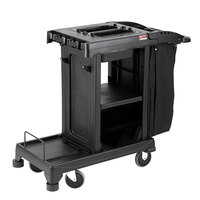 Suncast CC200 Black Janitor / Housekeeping Cart with Bag and Non-Marring Wall Bumpers