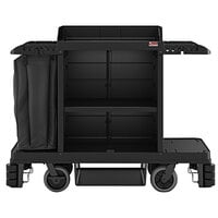Suncast HKC2000 Black Premium Janitor / Housekeeping Cart with Adjustable Caster System, Bag, and Non-Marring Wall Bumpers