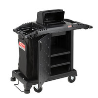 Suncast HKCCH200 Black Premium Compact Janitorial / Housekeeping Cart with Bag, Lockable Hood, and Non-Marring Wall Bumpers