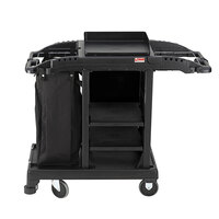 Suncast HKCCT100 Black Standard Compact Janitorial / Housekeeping Cart with Bag and Non-Marring Wall Bumpers