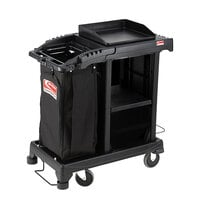 Suncast CCT100 Black Sub-Compact Standard Janitor / Housekeeping Cart with Bag and Non-Marring Wall Bumpers
