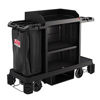Suncast HKC1501 Black Standard Plus Janitor / Housekeeping Cart with Bag and Non-Marring Wall Bumpers