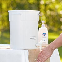 Choice 6 Gallon White Round Dispenser for Handwashing with Set of Labels