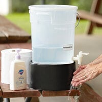 Choice 6 Gallon Clear Round Dispenser with Black Base and Set of Labels