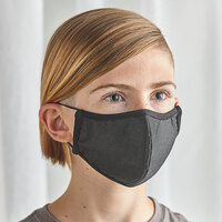 Mercer Culinary M69014BK Customizable Black Reusable Non-Woven Polypropylene Anatomical Protective Youth Face Mask - 7 inch x 4 1/2 inch