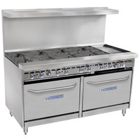 Bakers Pride Restaurant Series 60-BP-8B-G12-S26 Natural Gas 8 Burner Range with Two Standard 26 inch Ovens and 12 inch Griddle