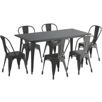 Lancaster Table & Seating Alloy Series 63 inch x 32 inch Black Dining Height Outdoor Table with 6 Industrial Cafe Chairs