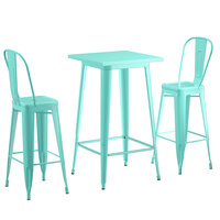 Lancaster Table & Seating Alloy Series 24 inch x 24 inch Seafoam Outdoor Bar Height Table with 2 Metal Cafe Bar Stools
