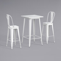 Lancaster Table & Seating Alloy Series 24 inch x 24 inch White Outdoor Bar Height Table with 2 Metal Cafe Bar Stools