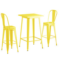 Lancaster Table & Seating Alloy Series 24 inch x 24 inch Yellow Outdoor Bar Height Table with 2 Metal Cafe Bar Stools