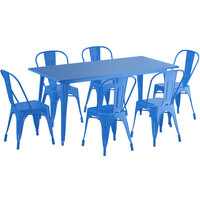 Lancaster Table & Seating Alloy Series 63 inch x 32 inch Blue Dining Height Outdoor Table with 6 Industrial Cafe Chairs