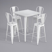 Lancaster Table & Seating Alloy Series 32 inch x 32 inch White Outdoor Bar Height Table with 4 Metal Cafe Bar Stools