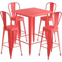 Lancaster Table & Seating Alloy Series 32 inch x 32 inch Red Outdoor Bar Height Table with 4 Metal Cafe Bar Stools