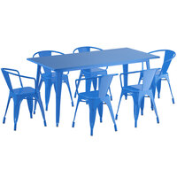 Lancaster Table & Seating Alloy Series 63 inch x 32 inch Blue Dining Height Outdoor Table with 6 Arm Chairs